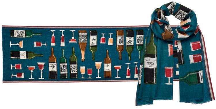 foulard laine, inouitoosh hiver 2019, bouteilles et verres de vin, bleu.