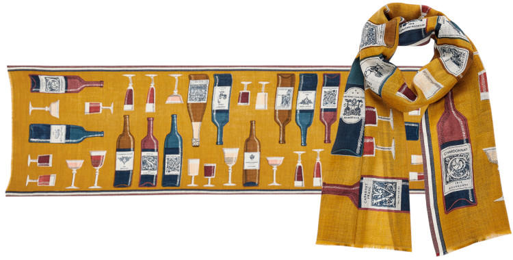 foulard laine, inouitoosh hiver 2019, bouteilles et verres de vin, jaune.