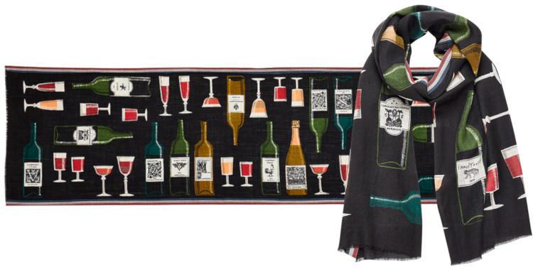 foulard laine, inouitoosh hiver 2019, bouteilles et verres de vin, noir.