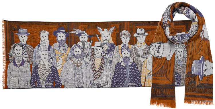foulard laine et soie, inouitoosh hiver 2019, les hommes célèbres, caramel et bleu.