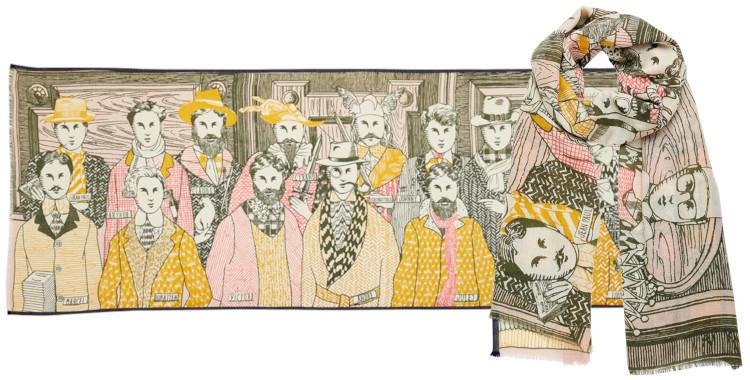 foulard laine et soie, inouitoosh hiver 2019, les hommes célèbres, jaune et nude.