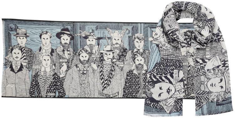 foulard laine et soie, inouitoosh hiver 2019, les hommes célèbres, noir et bleu.