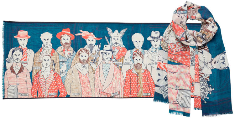 foulard laine et soie, inouitoosh hiver 2019, les hommes célèbres, rouge et bleu.