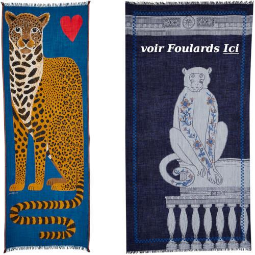 foulard laine, inouitoosh hiver 2019, panthère, singe.
