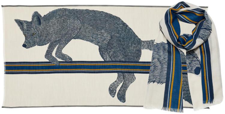 foulard laine, inouitoosh hiver 2019, le loup, en bleu.