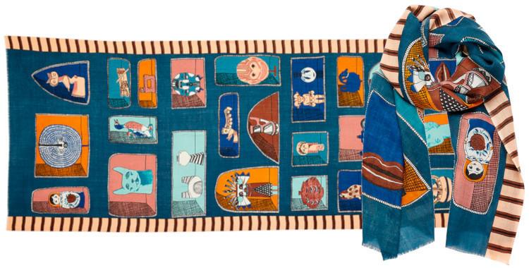 foulard laine Inouitoosh hiver 2019, souvenirs de tour du monde, en bleu.