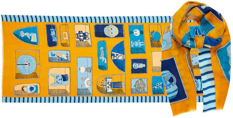 foulard laine Inouitoosh hiver 2019, souvenirs de tour du monde, en jaune et bleu.