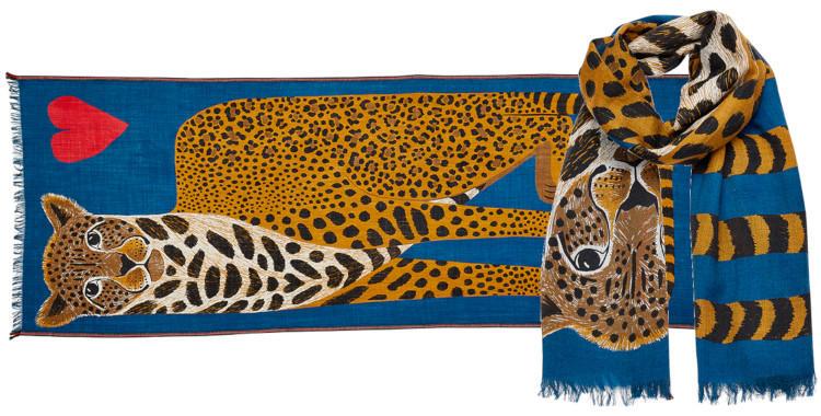 foulard laine et soie, inouitoosh hiver 2019, panthère et coeur, en bleu.