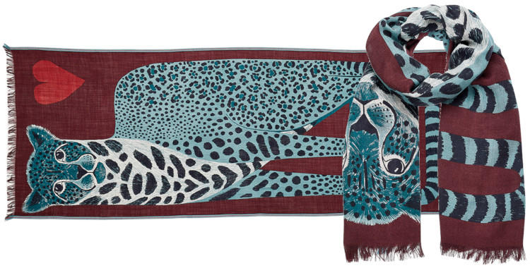 foulard laine et soie, inouitoosh hiver 2019, panthère et coeur, en bordeaux.