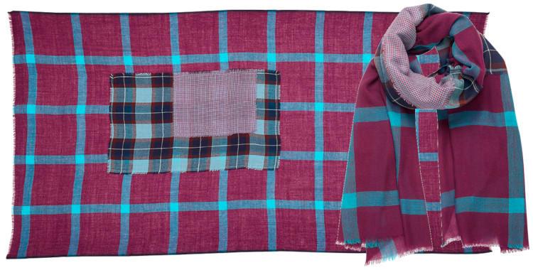 foulard laine inouitoosh hiver 2020, patchwork à carreaux, en bleu et prune.