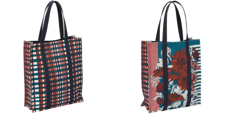 sacs en coton imprimé, inouitoosh hiver 2019, fleurs, rayure et carreaux.