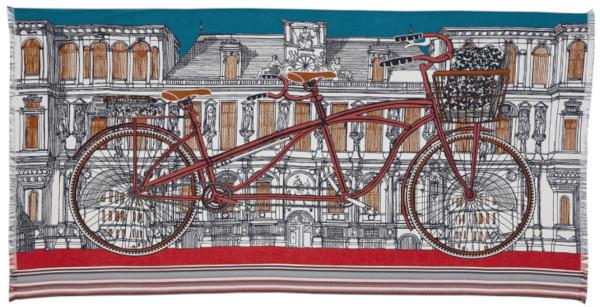 écharpe paréo en coton, Inouitoosh 2020, la bicyclette tandem, orange.