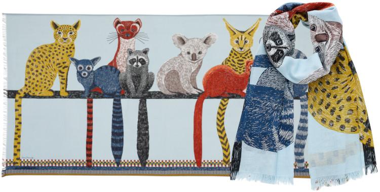 Foulards Inouitoosh été 2020, en coton, les petits marsupiaux, en bleu céladon.