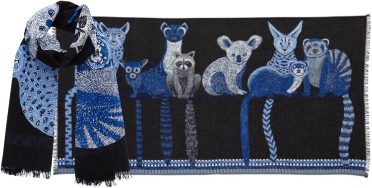 Foulards Inouitoosh été 2020, en coton, les petits mammifères, en noir.