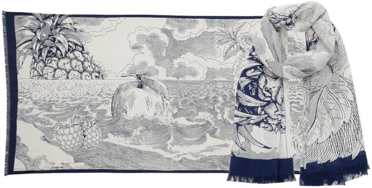 Foulards Inouitoosh été 2020, en coton, le jardin des Hespérides, en blanc.