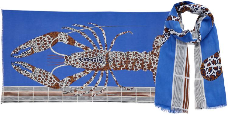 Foulards Inouitoosh été 2020, en coton, le homard, en bleu.