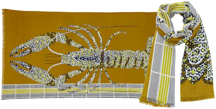 Foulards Inouitoosh été 2020, en coton, le homard, en jaune.