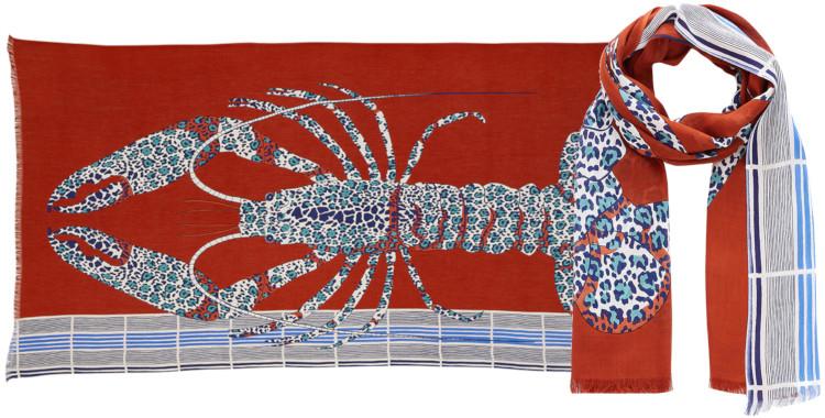 Foulards Inouitoosh été 2020, en coton, le homard, en rouge.