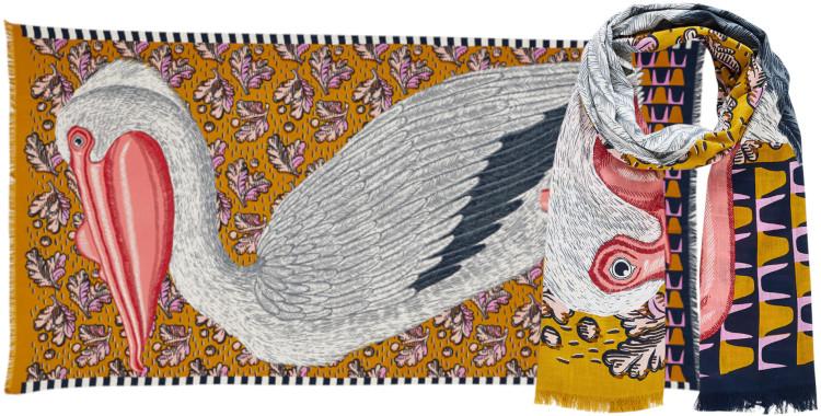 Foulards Inouitoosh été 2020, en coton, le pélican, en jaune safran.