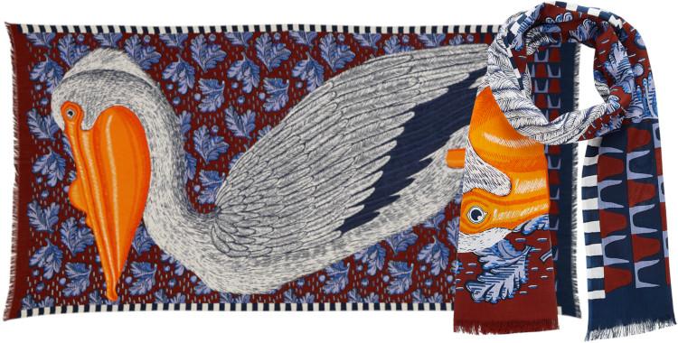 Foulards Inouitoosh été 2020, en coton, le pélican, en rouge et bleu.