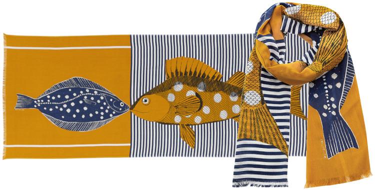 Foulards Inouitoosh été 2020, en coton, la rascasse et le carrelet, jaune.