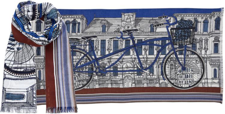 Foulards Inouitoosh été 2020, en coton, le vélo tandem, bleu et marron.