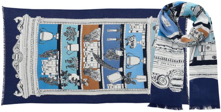 Foulard et paréo, Inouitoosh été 2020, coton, le cabinets de curiosité, bleu marine.