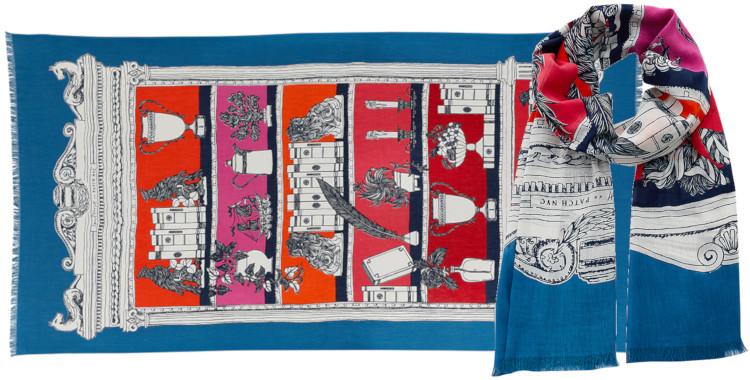 Foulard et paréo, Inouitoosh été 2020, coton, le cabinet de souvenirs chinés, en fuchsia.