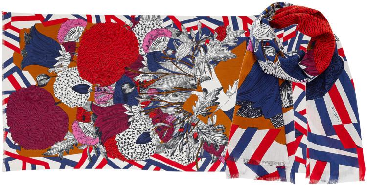 Foulard et paréo, Inouitoosh été 2020, coton, le bouquet de fleurs, en rouge.