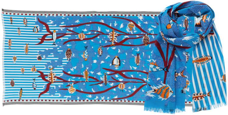 Foulards Inouitoosh été 2020, en coton, les poissons dans les algues, bleu.