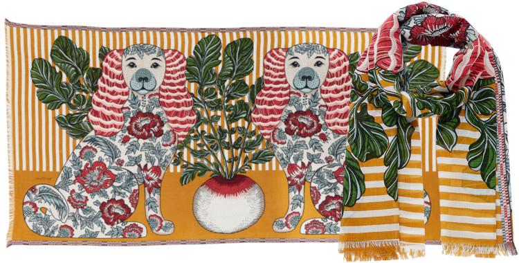 foulard et paréo, Inouitoosh été 2020, coton, les chiens, jaune safran.