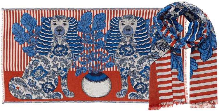 foulard et paréo, Inouitoosh été 2020, coton, les chiens, rouge terracotta.