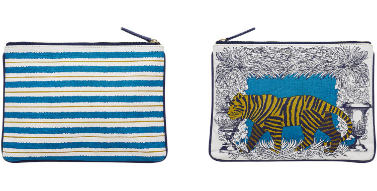 pochettes en coton, Inouitoosh été 2020, le tigre, en bleu.