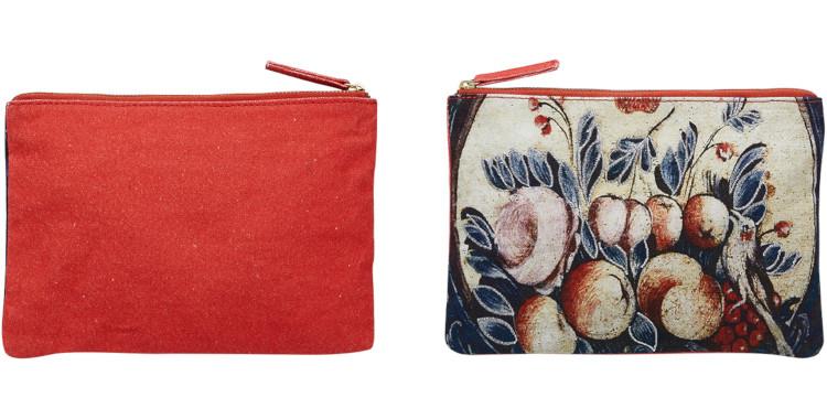 pochette en coton canvas imprimé, brodé, inouitoosh été 2020, l'oiseau et fruits.