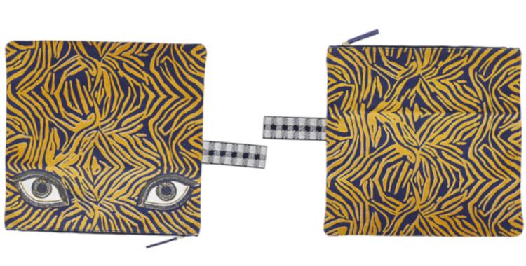 Grandes pochettes pliables en coton, Inouitoosh été 2020, les yeux, en bleu et jaune.