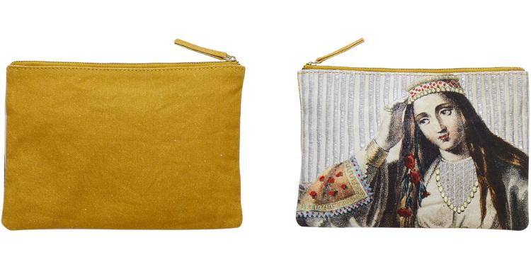 pochette en coton canvas imprimé, brodé, inouitoosh été 2020, portrait de femme.