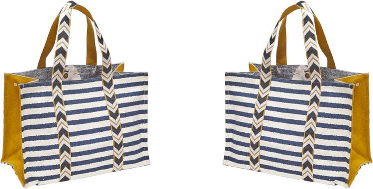 sacs shopping, en coton canvas imprimé, marinière, bleu et blanc, inouitoosh été 2020.