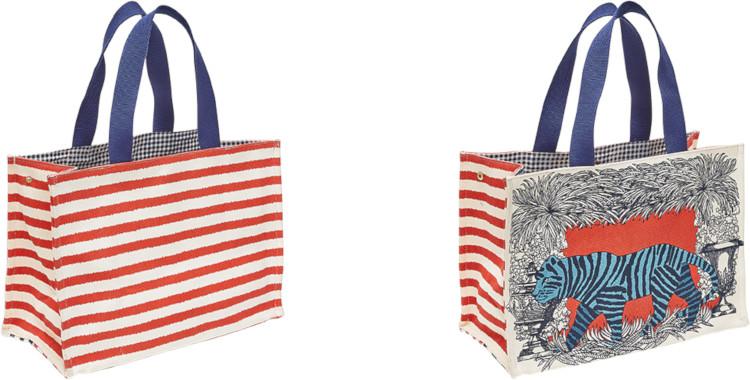 sacs shopping, en coton canvas imprimé, le tigre sur fond rouge, inouitoosh été 2020.