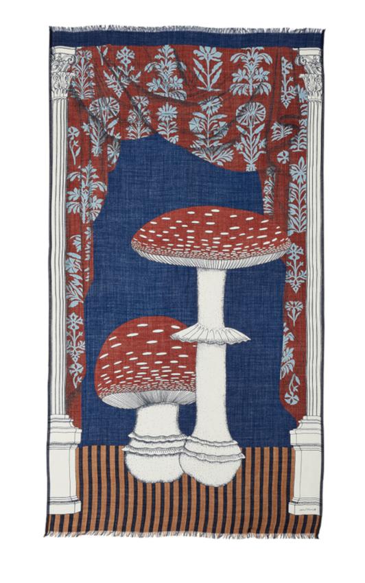 Inouitoosh hiver 2020 foulard laine champignons amanite tue-mouche rouges