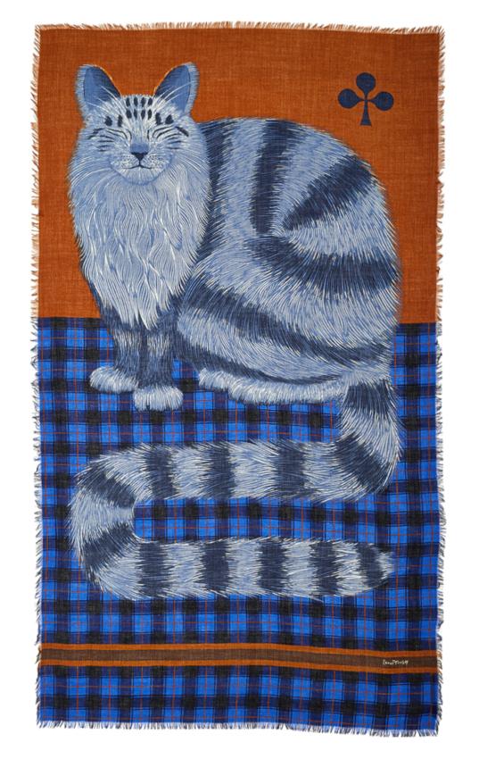 Inouitoosh hiver 2020 foulard laine chat sur un tartan caramel