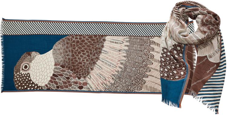 foulard imprimé, en laine, Inouitoosh hiver 2020, un aigle et son ramage, bleu.