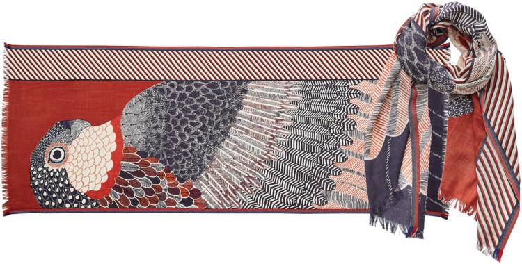 foulard imprimé, en laine, Inouitoosh hiver 2020, un aigle et son ramage, rouge écureuil.
