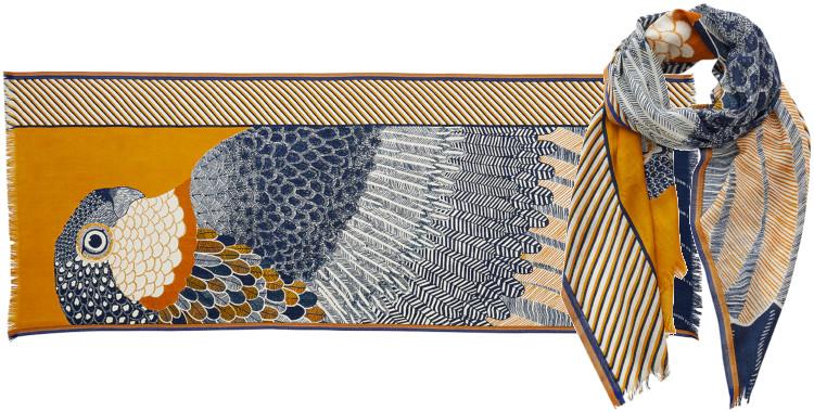 foulard imprimé, en laine, Inouitoosh hiver 2020, un aigle et son ramage, jaune.