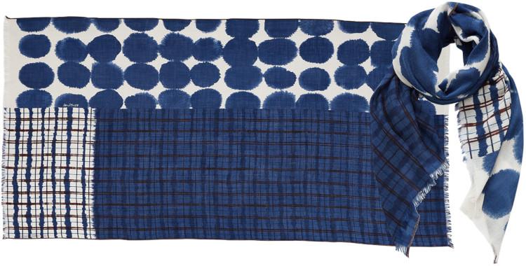 foulard imprimé, en laine, Inouitoosh hiver 2020, pois et tartan écossais, bleu.