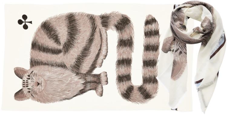 foulard imprimé, en laine, Inouitoosh hiver 2020, le chat sur un tartan écossais, blanc.