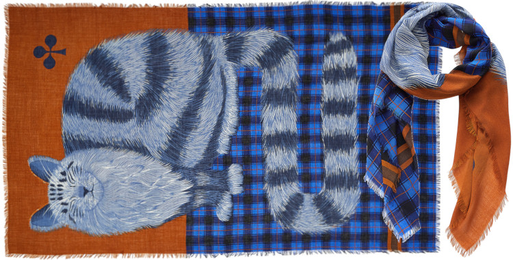 foulard imprimé, en laine, Inouitoosh hiver 2020, le chat sur un tartan écossais, caramel.