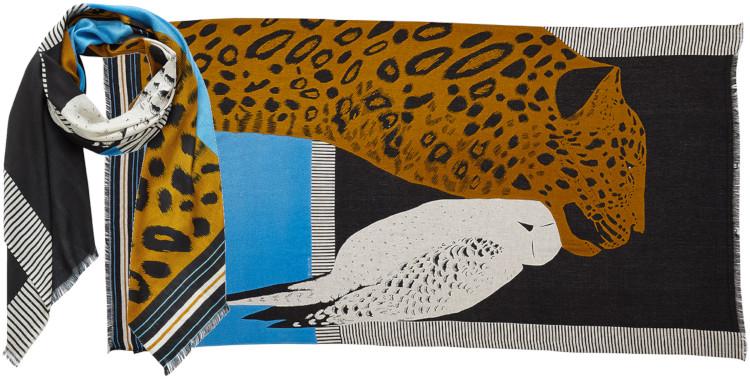 foulard imprimé, en modal et cachemire, Inouitoosh hiver 2020, la panthère et l'oiseau, noir.