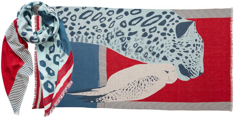 foulard imprimé, en modal et cachemire, Inouitoosh hiver 2020, la panthère et l'oiseau, rouge.