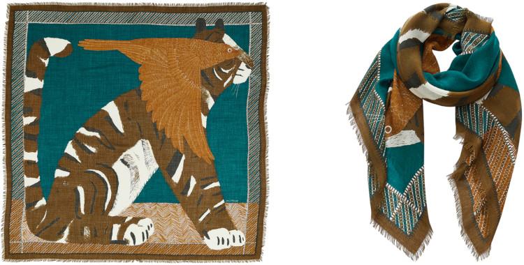 foulard carré, imprimé, en laine, Inouitoosh hiver 2020, le tigre et l'oiseau, vert.