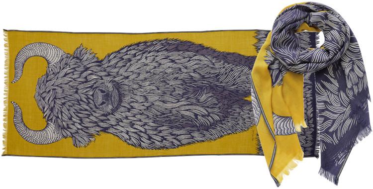 foulard imprimé, en laine, Inouitoosh hiver 2020, le yack, jaune.
